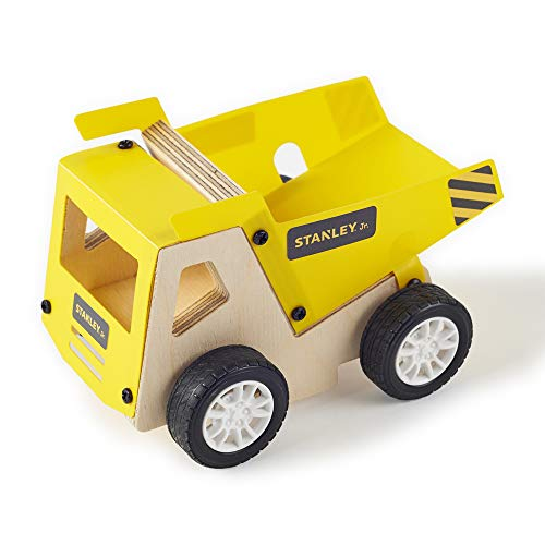 Stanley Jr. DIY Dump Truck Kit for Kids - Easy to Assemble Model Truck Kit - Yellow Dump Truck Model Set - Wood Dump Truck Craft - Paint & Decals Included