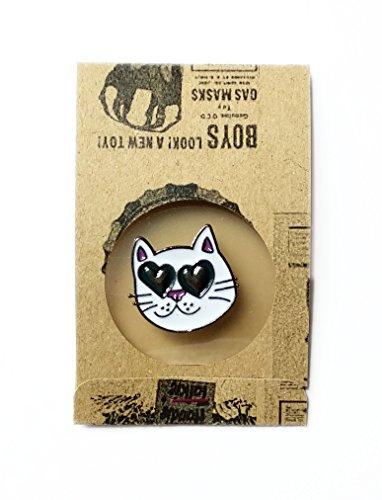 White Cat Enamel Lapel Pin Big Heart Love Eyes (cat) ()
