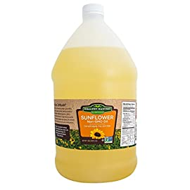 Healthy Harvest Non-GMO Sunflower Oil - Healthy Cooking Oil for Cooking, Baking, Frying & More - Naturally Processed to Retain Natural Antioxidants {One Gallon} 3 NATURAL SUNFLOWER OIL - Bring the best of nature to your table, with our Non-GMO healthy cooking oil, created without chemicals, hydrogenation or other damaging processing. The approximate smoke point of our Sunflower oil is 450 degrees. FARM FRESH - Traceable to farm of origin, our Non-GMO Sunflower Oil is naturally processed, using physical refining methods that ensure inherent, natural antioxidants, Omega-3 fatty acids and Vitamin E are retained. NO TRANS-FATS - Enjoy flavorful meals without harmful impacts to your heart, blood sugar and overall health with this healthy cooking oil - in fact, Sunflower Oil can even help reduce your cholesterol.