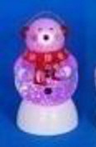 """7.5"""" LED Lighted Color-Changing Snowman with Ear Muffs Snow"""