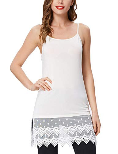 Women's Layered Dress Tiered Lace Trim Half Slips(L,White -