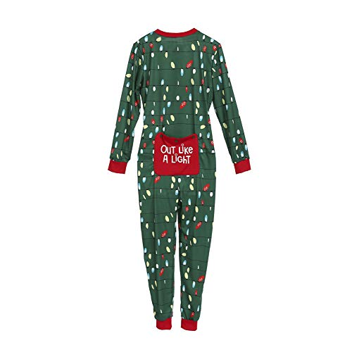 Family Matching Christmas Pajamas Set Adult Kids Lights Romper Funny Dropseat Onesie Sleepwear (Women, XL)