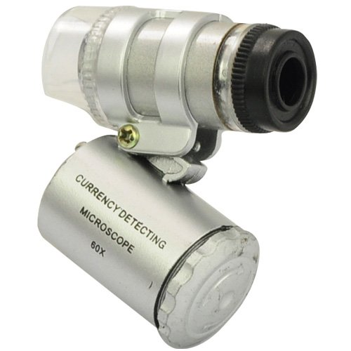 Forrader 60X Mini Pocket Microscope Loupe with UV Currency Detector & 2-LED White Lights 45546