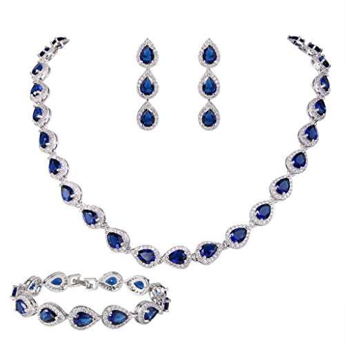 EVER FAITH CZ September Birthstone Elegant Tear Drop Necklace Earrings Bracelet Set Blue Sapphire-color