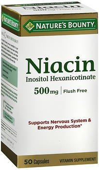 Nature's Bounty Niacin Flush Free 500mg - 50 Capsules, Pack of 6