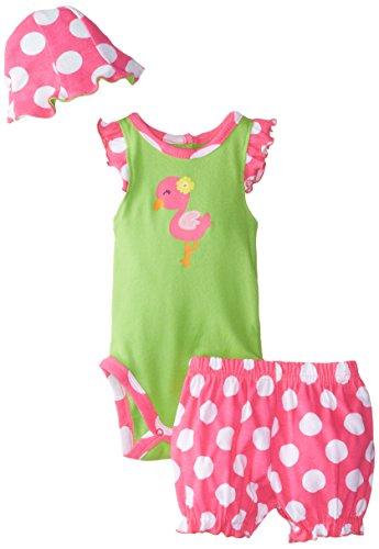 Gerber Baby Girls' 3 Piece Bodysuit, Bloomers, and Hat Set