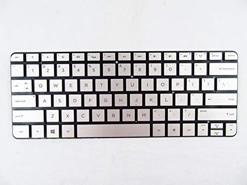New Silver Backlit Keyboard for HP Spectre 13-h 13-h200 13-H211nr US 742110-001, HP Spectre Split x2 13-h Silver Keyboard 742110-001 Without Frame with Backlit + Clear Protector Cover (Hp Split Spectre)