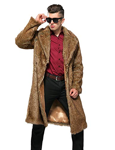 ZLSLZ Mens Winter Warm Leopard Faux Fur Long Length Luxury Outerwear Coat Jacket (US M/Tag XL, -