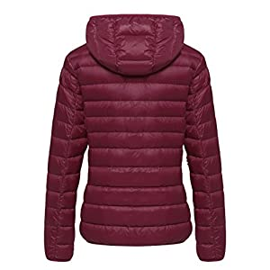 Wantdo Women's Hooded Packable Ultra Light Weight Down Coat Short Outwear(Wine Red,US X-Large)