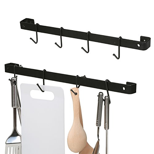 MyGift Set of 2 Pot Pan Storage Racks, Kitchen Organizer Set w/ 10 Hooks, Black