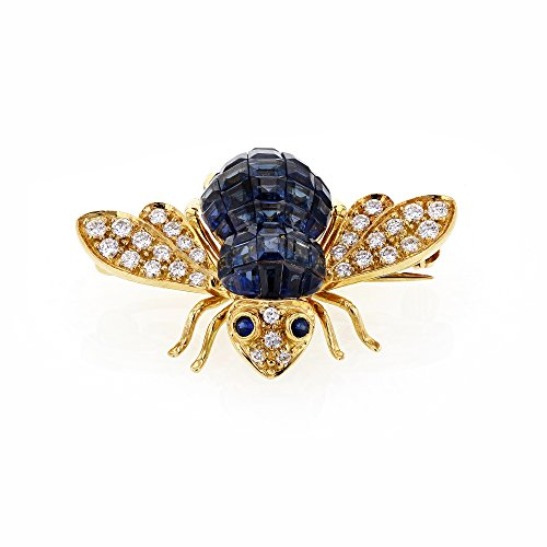 Blue Sapphire Yellow Brooch (Sabbadini Gioielli Blue Sapphire and Diamond Bee Brooch 5 Carats TGW 18k Yellow Gold - Italian Fine Jewelry)