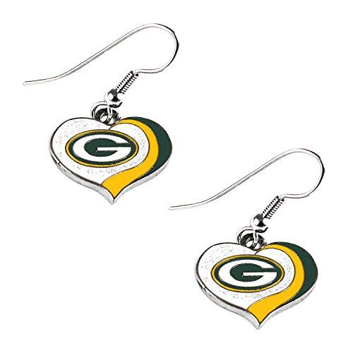 aminco NFL Green Bay Packers Women's Sports Team Logo Swirl Heart Glitter Earring Set, One Size, Multicolor