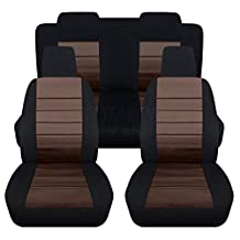 2005-2010 Ford Mustang Seat Covers: Black & Brown - Full Set (23 Colors) Coupe/Convertible V6/GT Solid/Split Bench 50/50 5th Gen 2006 2007 2008 2009