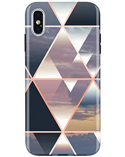 JIAXIUFEN Compatible with iPhone Xs Max Case Shiny Rose Gold Metallic Triangle Colorful Marble Slim Shockproof Flexible Bumper TPU Soft Case Rubber Silicone Cover Phone Case