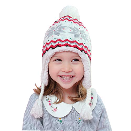 Home Prefer Kids Hat with Earflaps Sherpa Lined Knitted Hat for Girls XXL