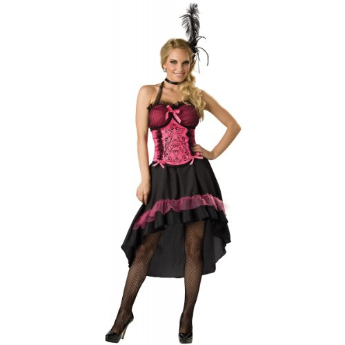 Wild West Saloon Girl Costume (InCharacter Costumes Women's Saloon Gal 2B Adult Costume, Black/Pink, X-Large)