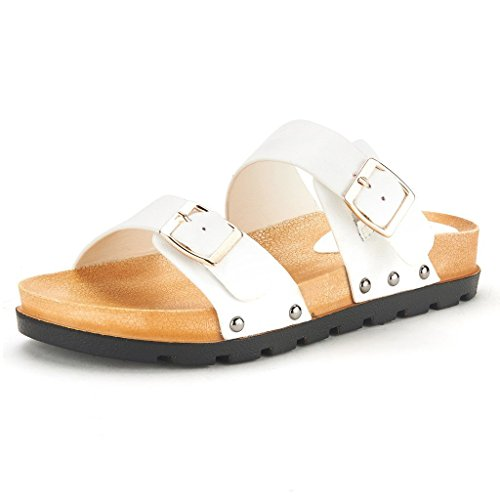 DREAM PAIRS ABI Women's Summer Open Toe Double Buckle Strap Fashion Design Slide On Flat Gladiator Sandals WHITE SIZE 9