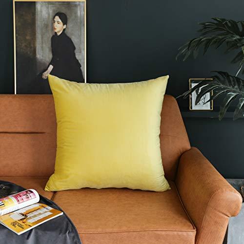 Kevin Textile Luxurious Solid Shiny Short Plush Velvet Decorative Throw Pillowcase Cushion Cover, 1 Pc, 24x24inch, Meadowlark Yellow