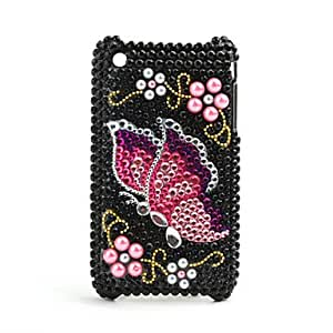 Protective Back Case with Crystals for iPhone 3G/3GS (Butterfly)