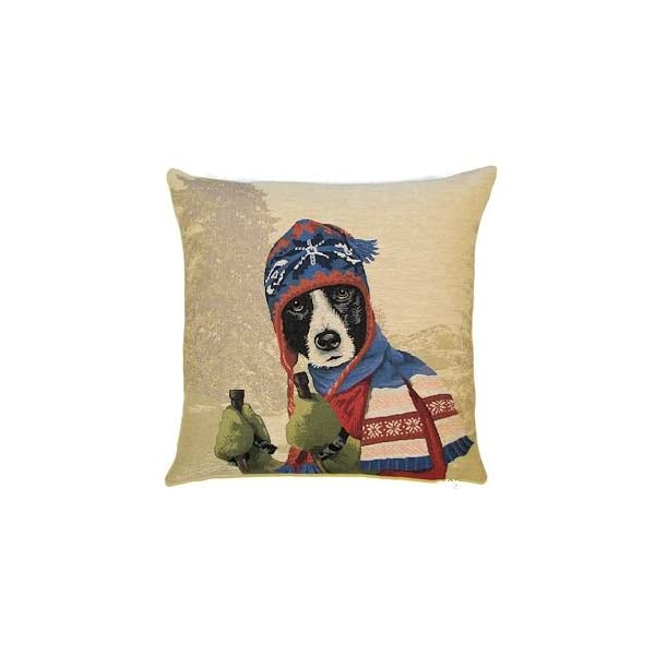 Authentic Jacquard Cotton Woven European Tapestry Pillow Covers / Decorative Gifts Cushion Cases / Home Decor Cushion Cover 18X18 in Vintage Dog Border Collie with blue beanie and antique skis 1