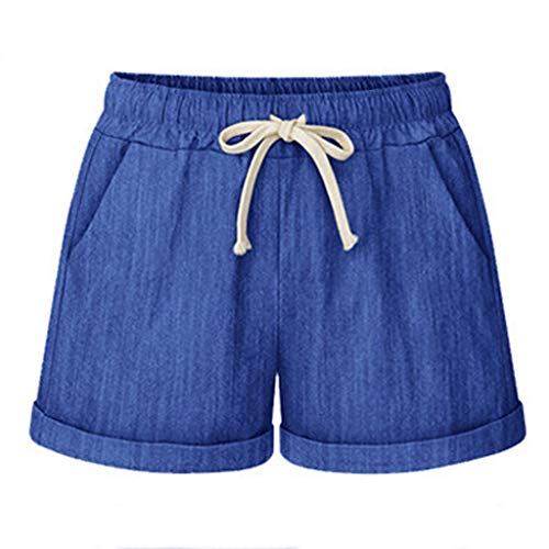 Plus Size Cotton Linen Shorts,Women Loose Drawstring Casual Sports Wide Leg Pants (Blue, XXL) ()