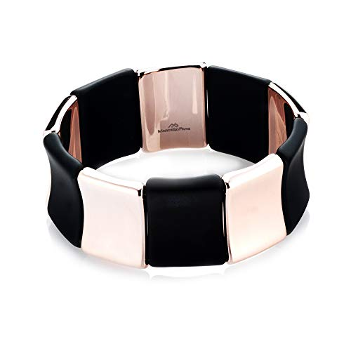 LeoDaniels Alternating Link Stretch Bracelet in Rubber and Rose Gold Plated Sterling Silver