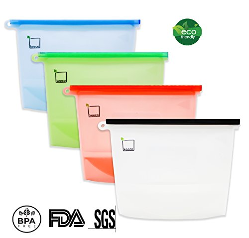 Keeco Silicone Food Storage Bags 4 Pack-Multi-Purpose,Sandwich Bags,Eco Ziplock Bag,Vacuum Premium Savers,Storage Container Bags,Food Steamer,Food Storage Bags Reusable