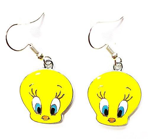 Looney Tunes Tweety Bird Charm Cartoon Character Dangle Hook Earrings With Gift Box