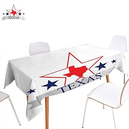 (familytaste Texas Star Washable Tablecloth San Antonio Dallas Houston Austin Map with Stars Pattern USA Waterproof Tablecloths 54