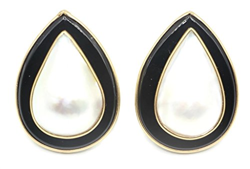 Black Mabe Pearl - Mabe White Pearl Pear Earring with Black Onyx and 14k Yellow Gold Omega Backs