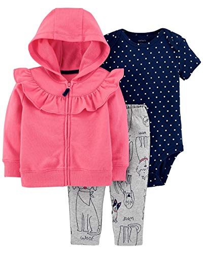 (Carter's Baby Girls' 3-Piece Little Jacket Sets (Pink/Navy/Doggies, 9 Months))