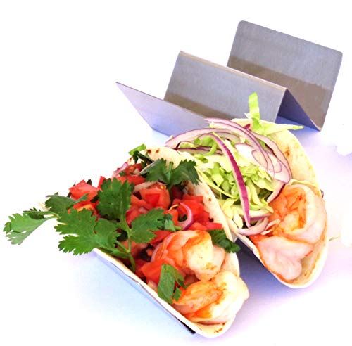 TACO HOLDER - HOLDS 2 TACOS EACH, SET OF 2 Stainless Steel Taco Holders, Taco Trays, Taco Stand for Hard Shell, Soft or Street Tacos with FREE RECIPE BROCHURE by Ovation Home