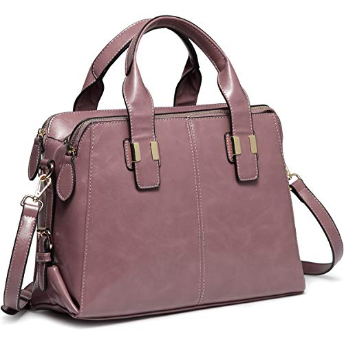 - Satchel Bag for Women, VASCHY Faux Patent Leather Top Handle Handbag Work Tote Purse with Triple Compartments Pink