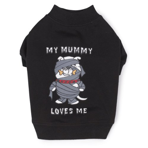 Casual Canine Polyester/Cotton Mummy Loves Me Tee, X-Small, 10-Inch, Black