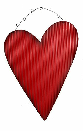 Rustic Red Tin Corrugated Metal Hearts - Hanging Ornaments Valentines Day Wall Decorations (Medium) (Valentine Wall)