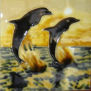 Two Dolphins at Sunset Decorative Ceramic Wall Art Tile - 6 Dolphins