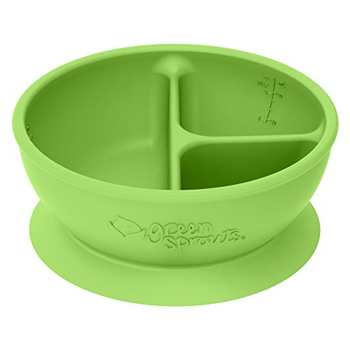 green sprouts Learning Bowl | Helps toddler develop independent eating skills | Heat-resistant silicone, Suction cup base with easy-release tab, 3 sections marked to measure portions, Dishwasher safe