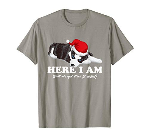 Cristmass Tree Shirts: Here I Am ~ Hasky in Santa#039s Red Hat TShirt