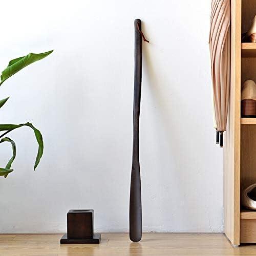 軽量 家庭用ソリッドウッドエクストラロング拡張ハンドル靴リフター男性女性子供 耐用 (Color : Brown, Size : 65cm)