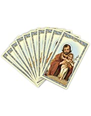 St. Joseph with Child Prayer Card- Cardstock Holy Card with Novena to St Joseph Prayer on the back (10 pack)