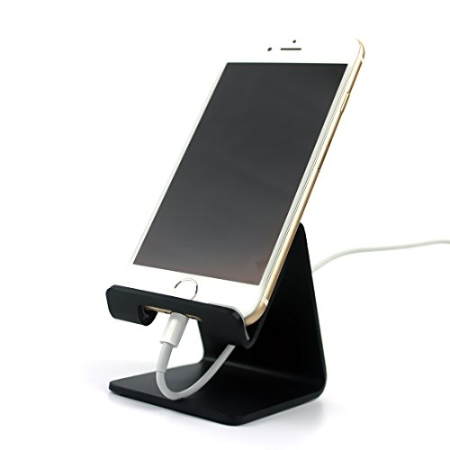Desk Cell Phone Stand Holder - ToBeoneer Aluminum Desktop Solid Universal Desk Stand for All Mobile Smart Phone Tablet Huawei iPhone X 8 7 6 Plus 5 Ipad 3 4 Ipad Mini Samsung Home Office Decor (Black) (Universal Aluminum)