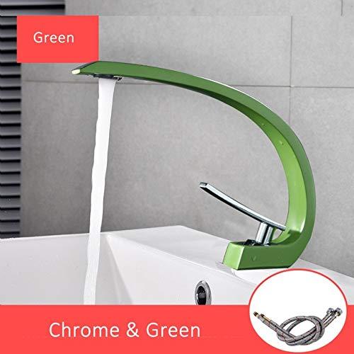 Green Chrome U-Enjoy Chandelier orange Basin Chrome Faucets Bathroom Top Quality Mixer Modern Tap Brass Washbasin Single Handle Single Faucet Hole Elegant Crane Tap Free Shipping [Chrome]