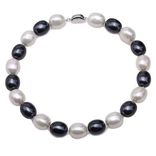(JYX Pearl Necklace 15×19mm Black and White South Sea Shell Pearl Necklace Oval Beads Necklace for Women 17.5'')