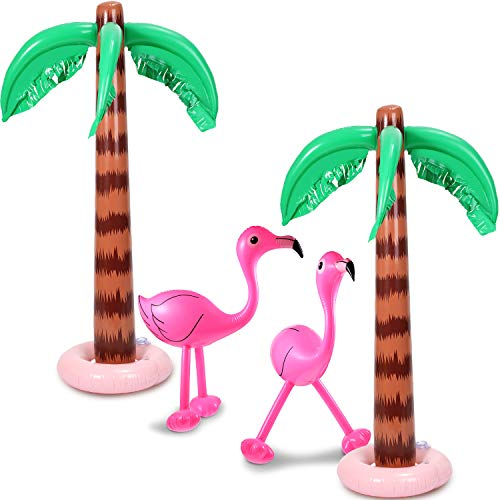 Gejoy Set of 4 Inflatable Palm Trees and Beach Inflatable Pink Flamingo for Hawaiian Pool Luau Party Decoration (Style 2)