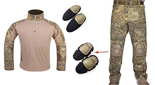 WorldShopping4U Männer Armee Militär Airsoft Spiel Schießerei Gen3 G3 Taktisch BDU Kampf Einheitliche Hemd und Hose Anzug mit Schutz Ellbogen Pads & Knee Pads