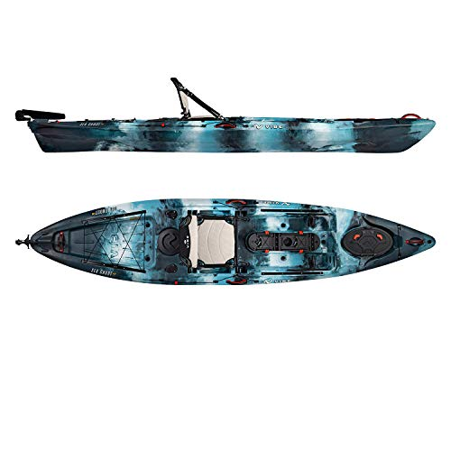 Vibe Kayaks Sea Ghost 130 13 Foot Angler Sit On Top Fishing Kayak (Blue Camo) with Adjustable Hero Comfort Seat
