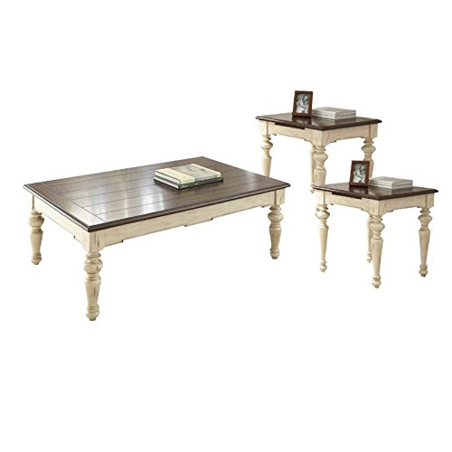 Home Square 3 Piece Farmhouse Coffee Table Set with Coffee T