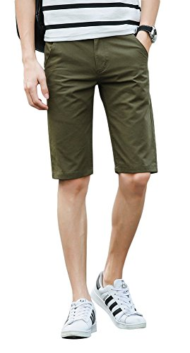 Plaid&Plain Men's Slim Fit Flat Front Twill Cotton Chino Shorts Army Green 32