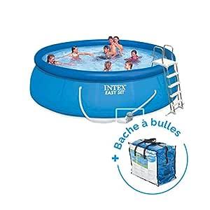 Pack piscina autoportée Easy Set Intex 4,57 x 1,22 m + lona ...