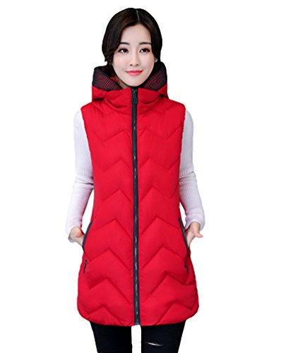 Medium Hooded Simple Padded Length Outwear Sleeveless Yiiquan Red Women's Jacket Vest Dark 4Efqw8